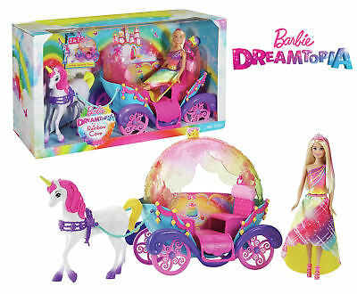 Barbie Dreamtopia Rainbow Cove Horse & Carriage with Princess Doll - New & Boxed
