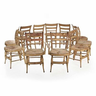 "Eleven Rare American Sheraton Painted ""Fancy"" Dining Chairs, New York c. 1815-30"