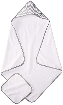 American Baby Company 100-Percent Organic Cotton Terry Hooded Towel Set, White w