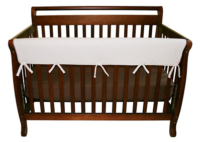 Trend Lab Fleece CribWrap Wide Rail Cover for Crib Front or Back, White