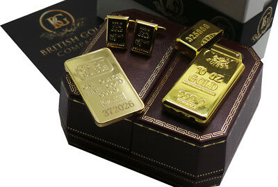 GOLD BAR Ingot style Luxury Bullion Cufflinks Cigarette Lighter Bar Gift Case