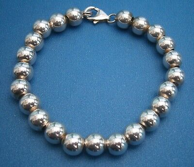 AT758) Vintage Hallmarked 925 sterling silver ball bead clasp bracelet