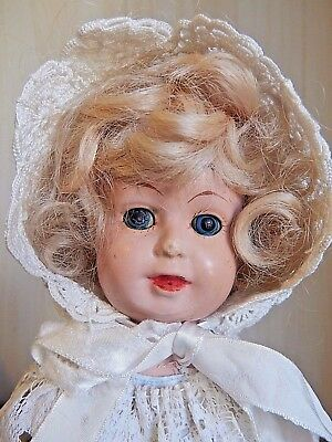 "Vintage 16"" Metal/Tin Head Doll w/Heavy Leather Body, Painted Sleep Eyes"