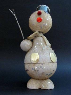 Vintage Cardboard Snowman Candy Container -Bobble Head