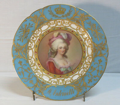French Sevres porcelain plate with an hand painted decor