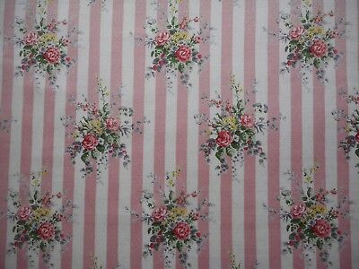 Unused vintage 50's sateen satin curtain fabric, 1M lengths, pink candy stripes