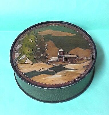 Antique Box Cardboard Box And Wood Carved Painted Pattern Landscape Mountain Man