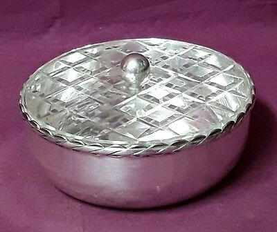 BONBONNIERE CRYSTAL AND METAL SILVER 20 th