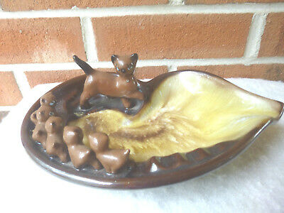 Vintage Ashtray Cat and  Kittens Ceramic Handpainted Brown Marbled Beige TILSO