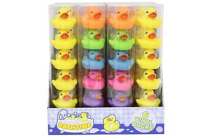12 Bath Time Floating Rubber Ducks Baby Bath Toys Multi Coloured in Display Tube