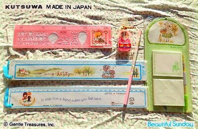🌳🏡 Vintage Kutsuwa BEAUTIFUL SUNDAY G Treasures stationery ruler pencil eraser