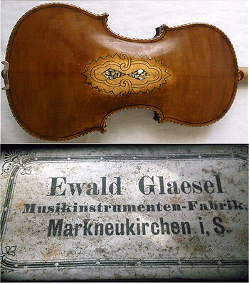 OLD GERMAN MASTER VIOLIN EWALD GLAESEL - see VIDEO - ANTIQUE バイオリン скрипка 432