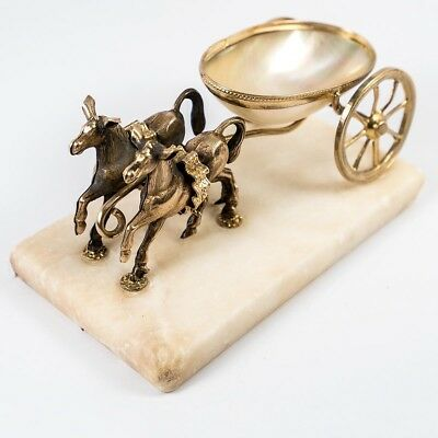 Antique French Napoleon III Era Palais Royal 2 Horse Figural Open Salt Caddy