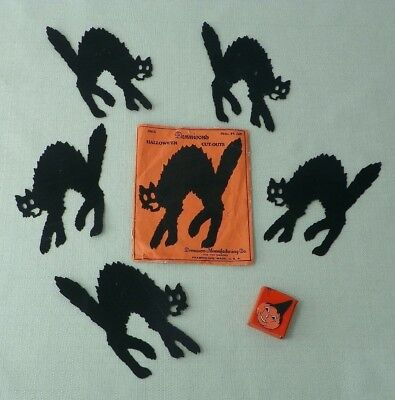 Set Of 5 Dennison Halloween Die Cut Black Cats W/ Envelope - Gibson Freebie