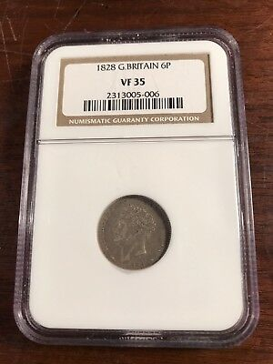 1828 Great Britain 6 Pence - NGC Graded VF-35