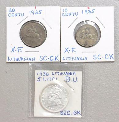 Lithuania Coin Collection Various Years (Lot Of 3) Free Shipping!