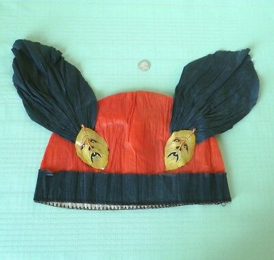 Vintage Dennison Crepe Paper Hat - Includes Label And Scary Leaf Embellishments