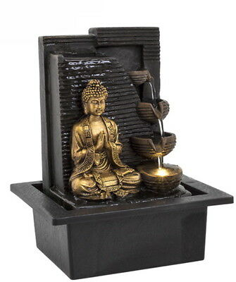 Buddha 4 Cup Wall Water Fountain With LED Light Indoor Water Feature 240v Mains