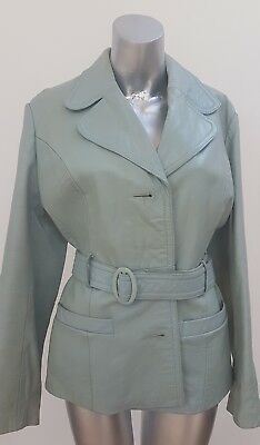 Vintage Mod 60S Duck Egg Blue/green Leather Jacket Elma/pittards 10 12 14 Med
