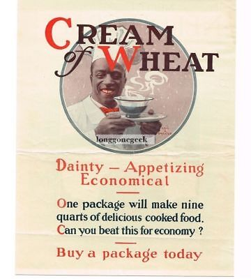 1921 CREAM OF WHEAT Cereal Dainty Appetizing Economical Edward Brewer Vtg Ad
