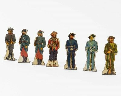 Marx Lot 7 Vintage Tin Litho Toy Soldiers Russian German French Sikh #10 #15 #20