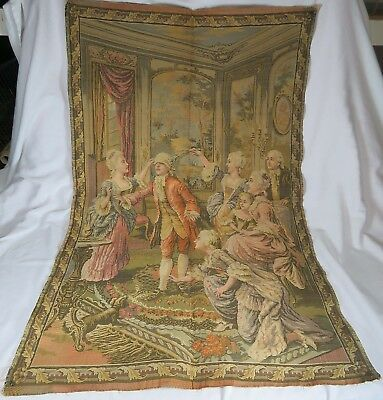 Vintage French Party Game Scene Tapestry
