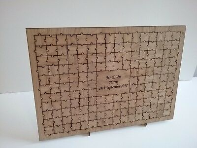 Personalised large wedding wooden jigsaw alternative guest book oak veneer
