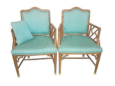 Pair Faux Bamboo Chinese Chippendale Armchairs Hollywood Regency Turquoise Chair