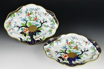 Pair of 19th Century Derby Porcelain Serving Dishes w/ Flowering Tree