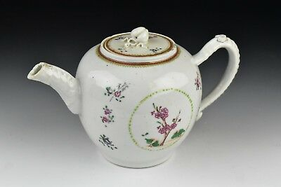 18th Century Chinese Export Porcelain Teapot w/ Flowers & Figural Finial