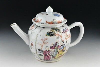 18th Century Chinese Export Porcelain Teapot w/ Enamel Character Scenes