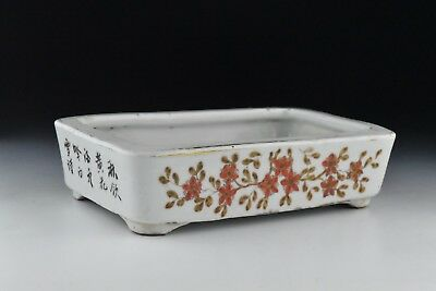 Antique 19th / 20th Century Chinese Porcelain Planter w/ Flowers & Calligraphy