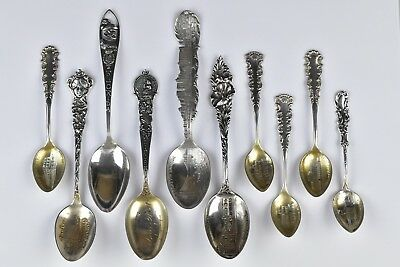 Lot of Early American Sterling Silver Souvenir Spoons CA, NY, NH, NJ, FL, PA