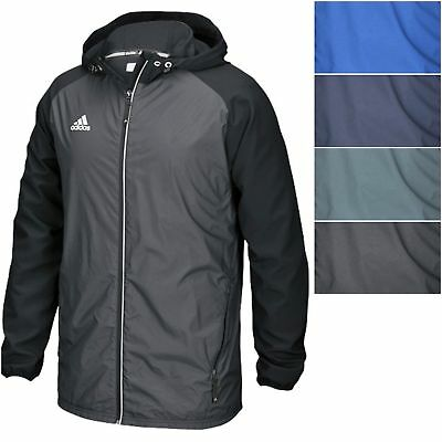 Adidas Men's Modern Varsity Woven Jacket Lightweight Hooded Windbreaker Coat