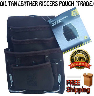 NEW Tan Leather Double Pouch TRADE QUALITY 4 POCKET Tool Belt