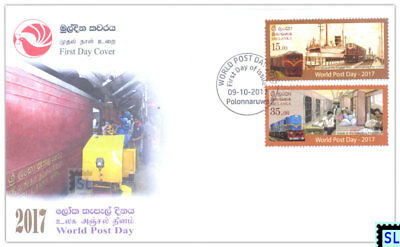 Sri Lanka Stamps 2017, Post Day, Train, Ship, FDC