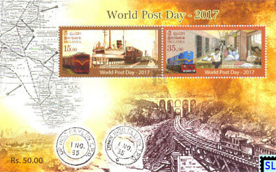 Sri Lanka Stamps 2017, Post Day, Train, Ship, MS