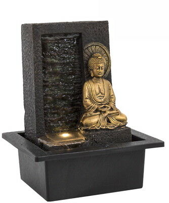 Buddha Wall Water Fountain With LED Light - Indoor Water Feature - 240v Mains