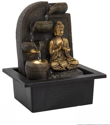 Buddha 4 Cup Water Fountain With LED Light - Indoor Water Feature - 240v Mains