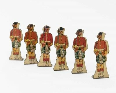 "Marx Lot of 6 Vintage Tin Lithograph Toy Soldiers #10 Gordon Highlanders 3.5"" T"