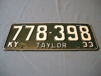 1933 Kentucky State License Plate Repainted