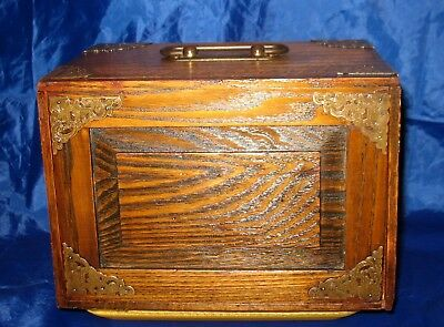 Antique Oak 5 Drawer Jewelers Jewelry Box Brass Ornamentation Travel Case