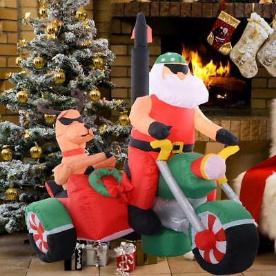 1.8M Inflatable Handsome Christmas Santa Claus Ride A Motorcycle Deer Decoration