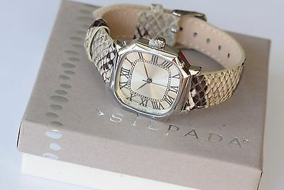 """Silpada NEW """"SNAKE IT HAPPEN"""" Leather Adjustable Stainless Steel Watch T3271"""