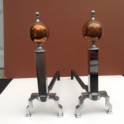 Vintage Art Deco  Andirons In Chrome And Copper