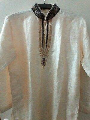 Men's cream and blue sherwani and trousers, size 42 in very good condition