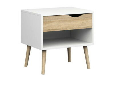 OSLO Bedside Cabinet / Table with Drawer Modern Retro Style white/sonoma oak