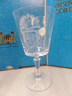 ROBERTS Engraved Crystal Stemware COAT OF ARMS Wedding Gift Wine Glasses