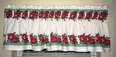 "Vintage STYLE Kitchen Curtain Valance - Hand Made-36"" Granny Rose Aqua Rodeo"