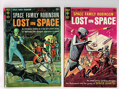 Space Family Robinson 18 & 35 Gold Key Comics 1966 Lot Silver Age Fn- Sci-Fi Tv